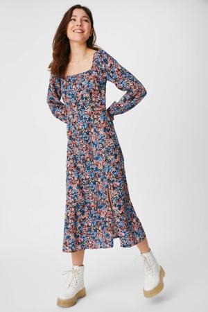 gebloemde A-lijn jurk blauw/rood