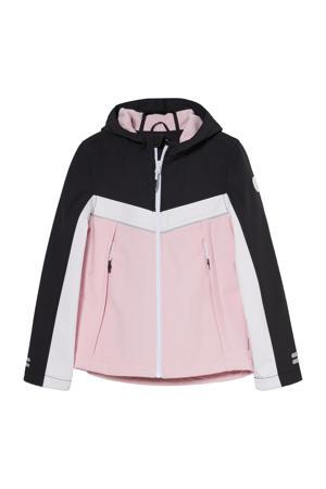 softshell jas tussen roze/wit/zwart