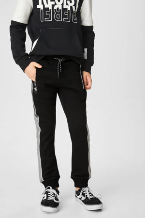 regular fit joggingbroek met zijstreep zwart