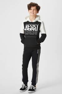 C&A regular fit joggingbroek met zijstreep zwart, Zwart