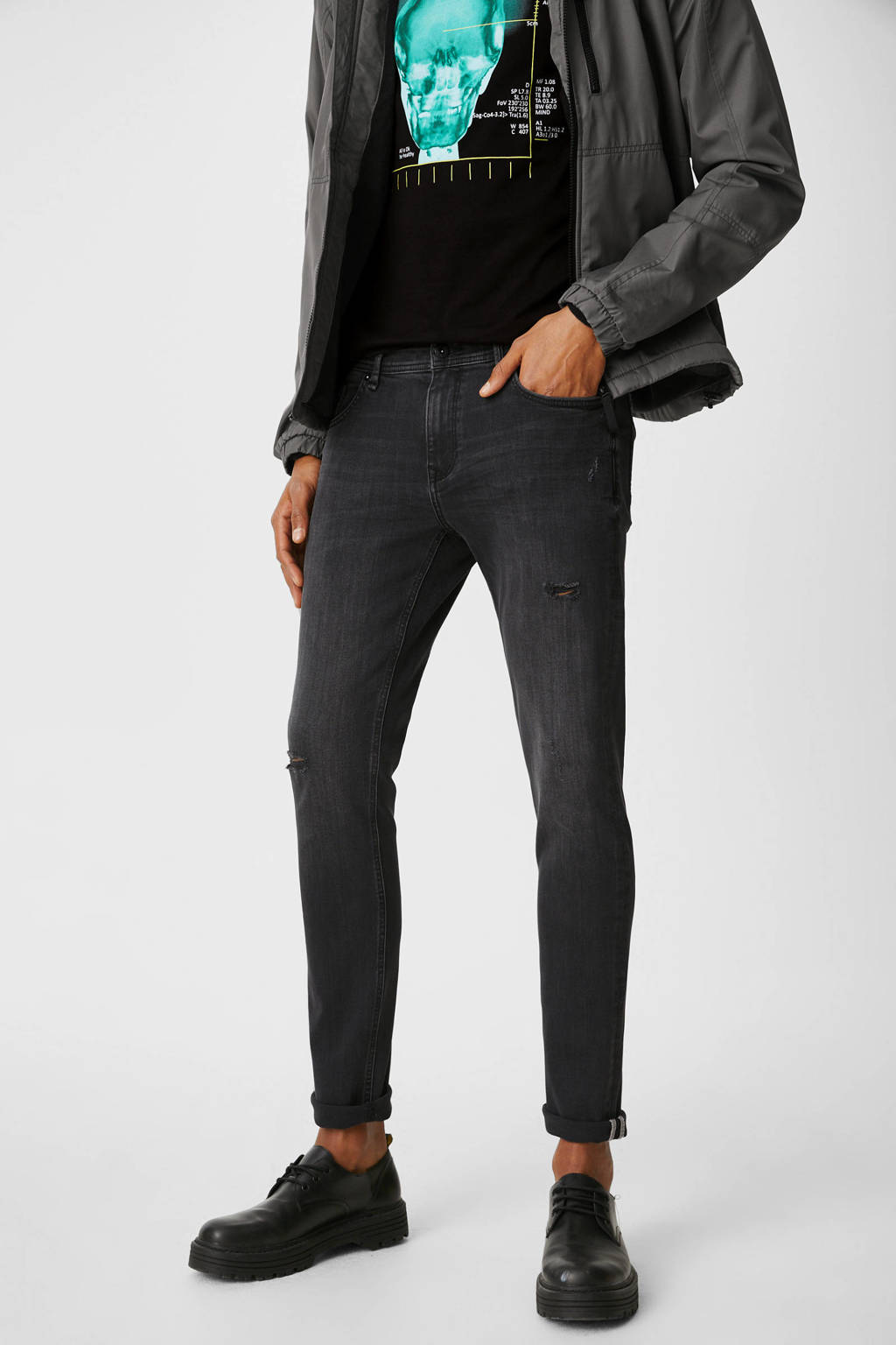 C&A Clockhouse skinny jeans antraciet, Antraciet
