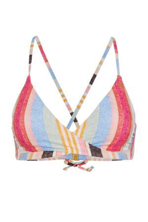gestreepte overslag triangel bikinitop Baay rood/geel/blauw