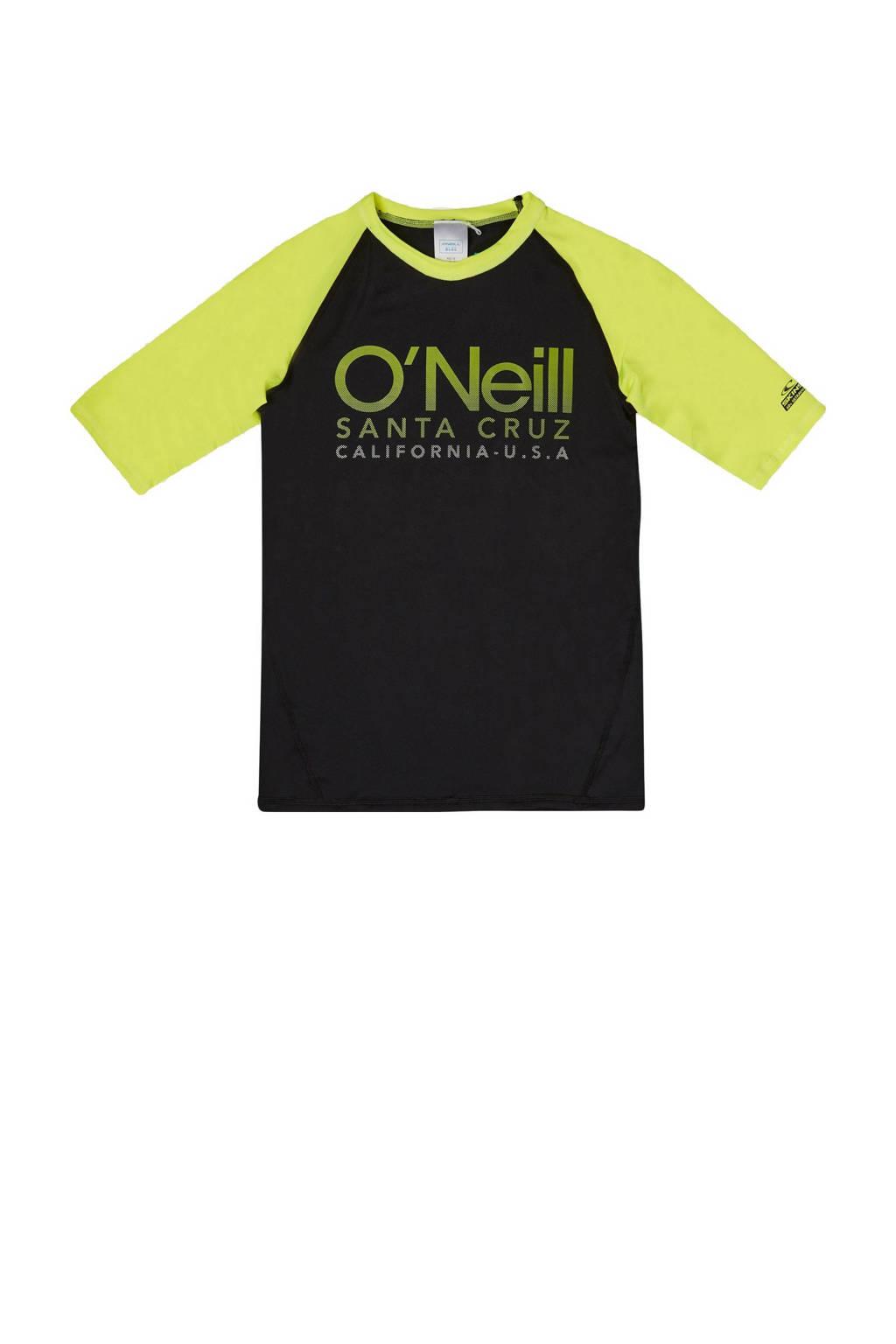 O'Neill Blue UV T-shirt Cali met logo zwart/geel, Zwart/geel