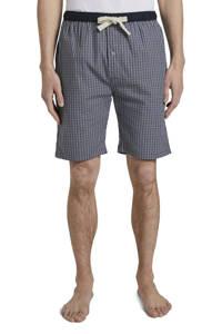 Tom Tailor geruite pyjamashort donkerblauw/wit, Donkerblauw/wit