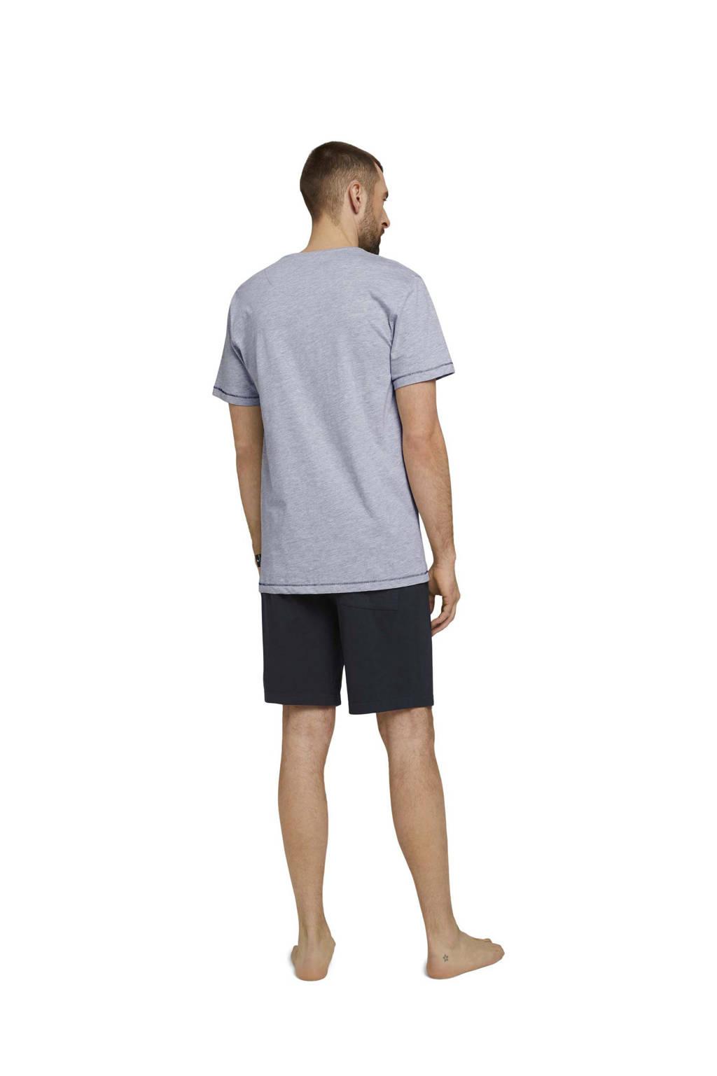 Tom Tailor shortama met printopdruk grijs/zwart, Grijs/zwart