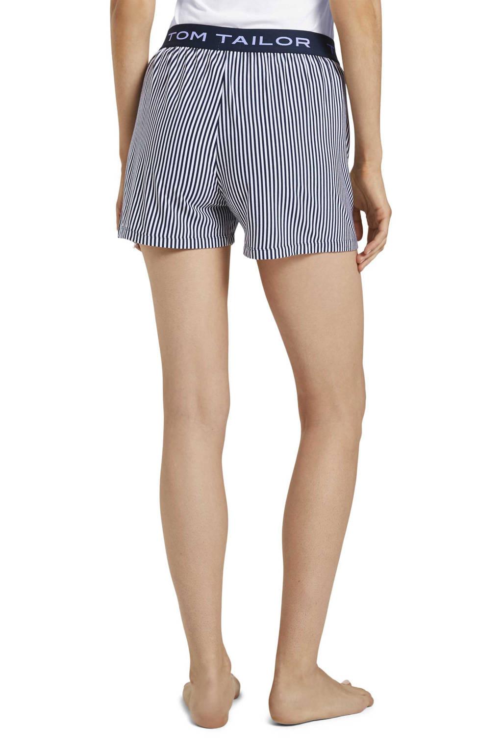 Tom Tailor gestreepte pyjamashort donkerblauw/wit, Donkerblauw/wit