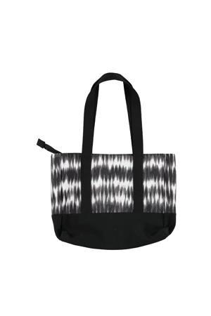 strandtas met tie-dye print zwart/wit