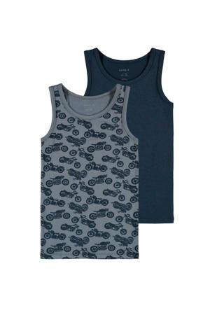 hemd - set van 2 grijs/blauw