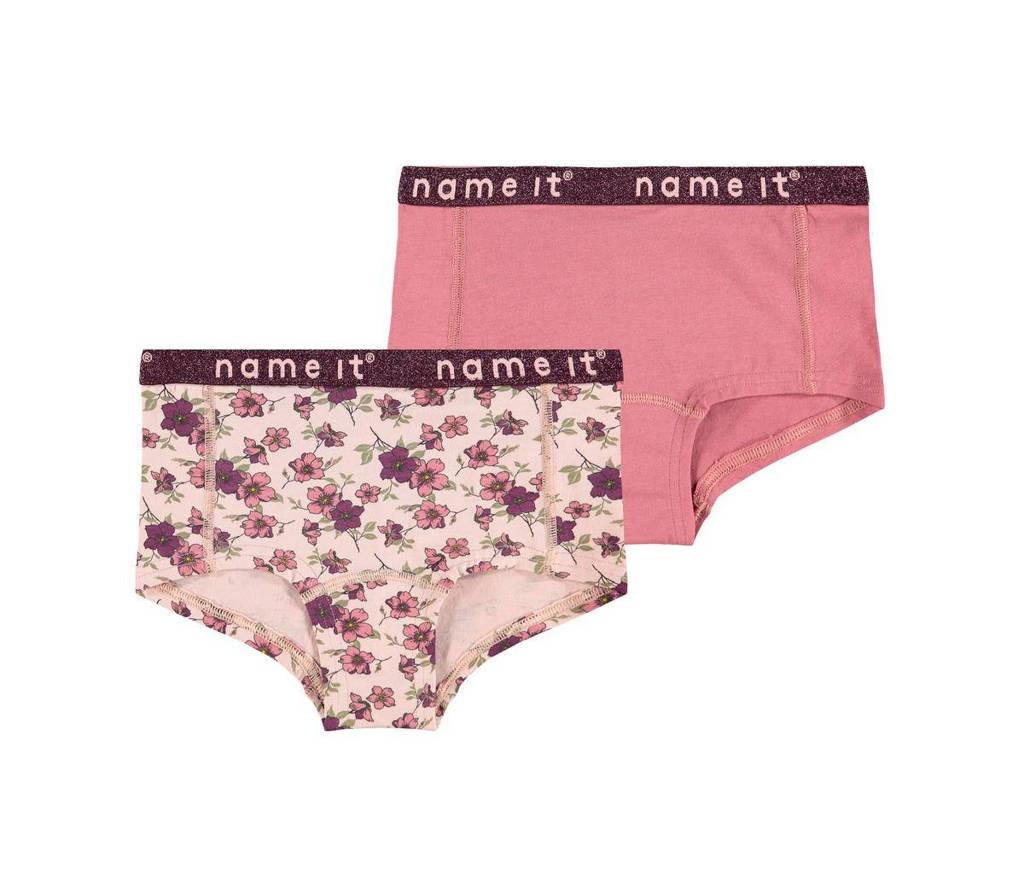 NAME IT KIDS slip - set van 2 roze/oudroze, Roze/oudroze