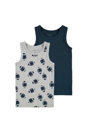 hemd - set van 2 grijs melange/donkerblauw