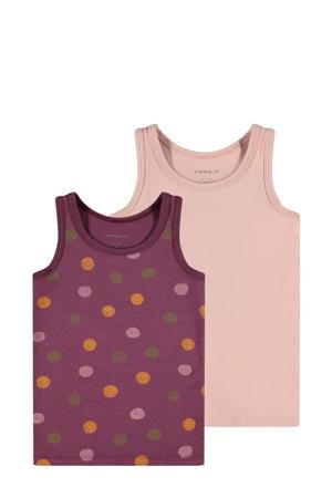 hemd - set van 2 van biologisch katoen paars/roze