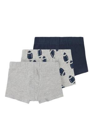 boxershort - set van 3 grijs/donkerblauw