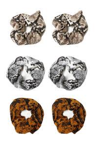 Sarlini scrunchies met slangenprint - set van 6 beige/brique/grijs, Beige/brique/grijs