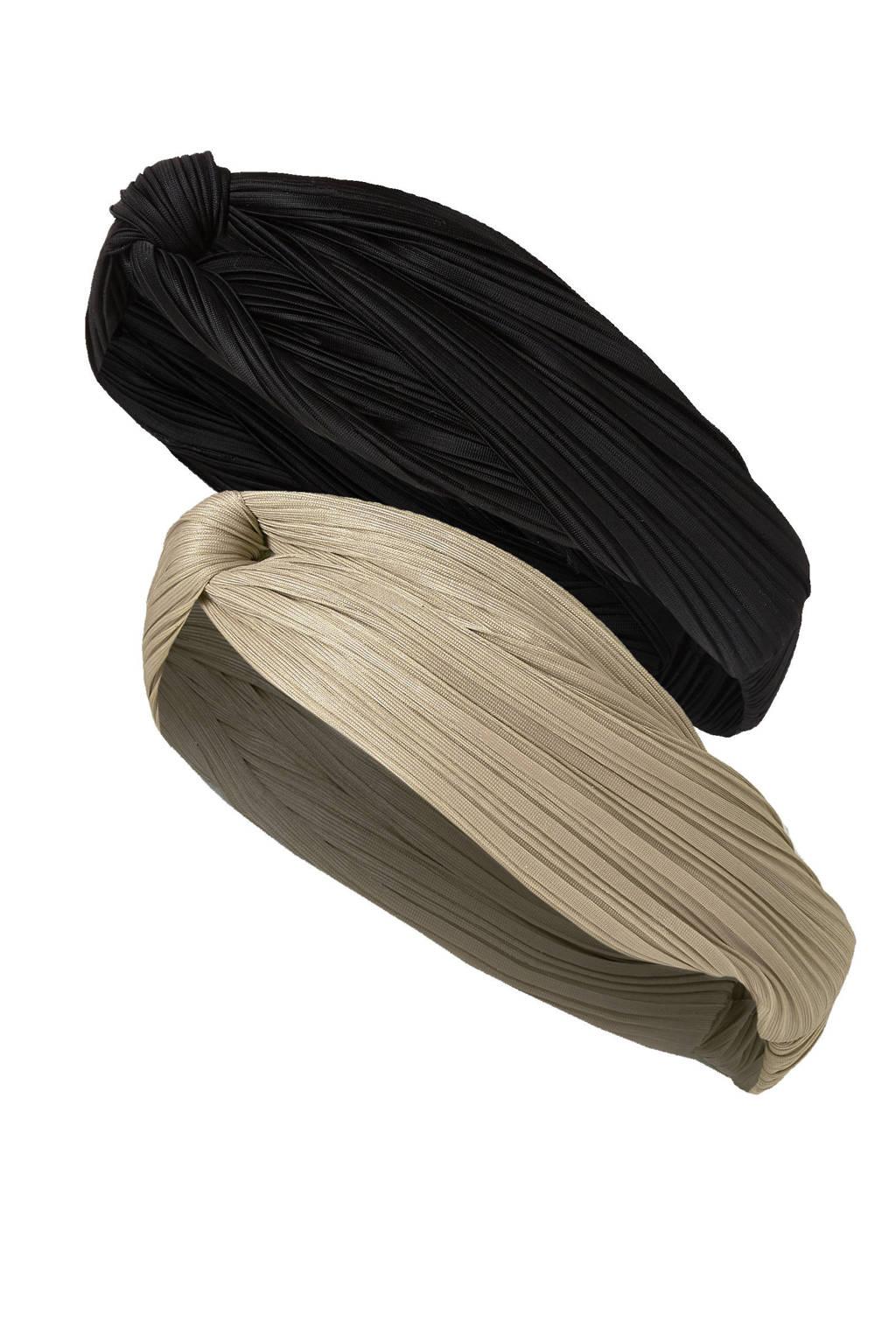 Sarlini haarband - set van 2 zwart/beige, Zwart/beige