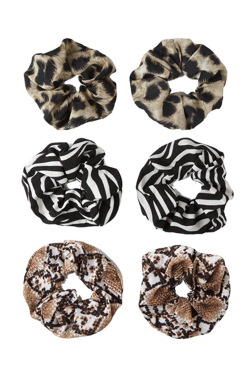 Sarlini scrunchies met dierenprint - set van 6 bruin/zwart, Bruin/zwart