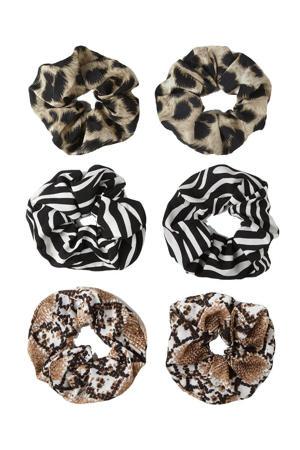 scrunchies met dierenprint - set van 6 bruin/zwart