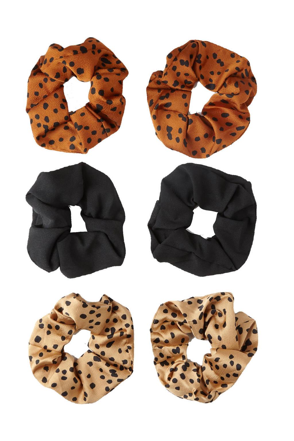 Sarlini scrunchies met stippen - set van 6 brique/zwart/lichtroze, Brique/zwart/lichtroze