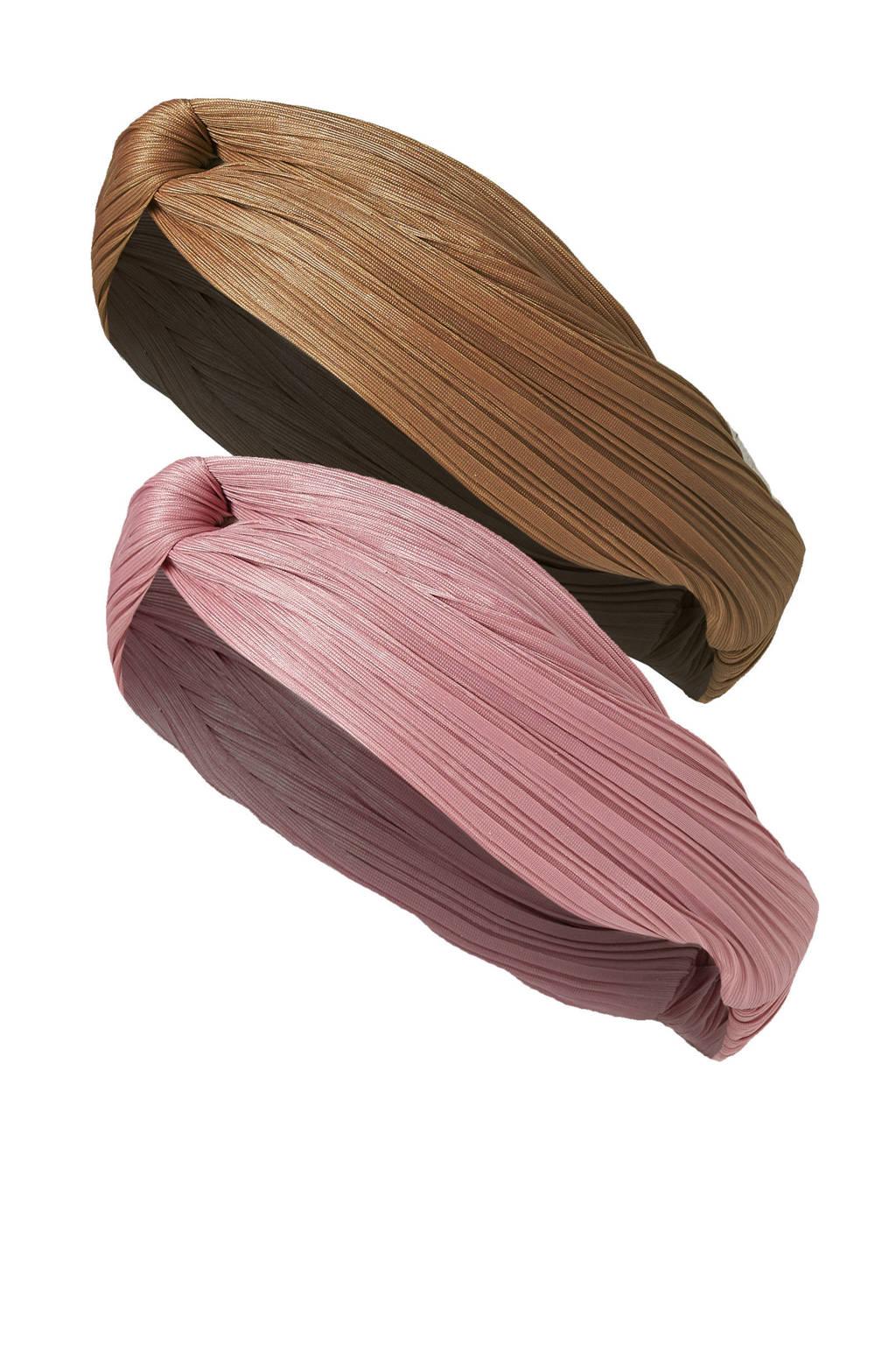 Sarlini haarband - set van 2 bruin/roze, Bruin/roze