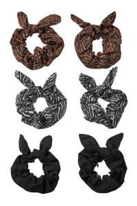 Sarlini scrunchies met dierenprint - set van 6 zwart/grijs, Zwart/grijs