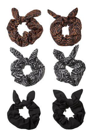 scrunchies met dierenprint - set van 6 zwart/grijs