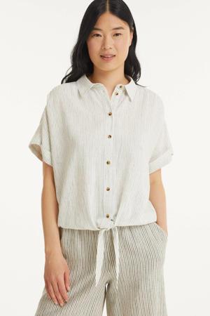 gestreepte blouse FQMELLA ecru