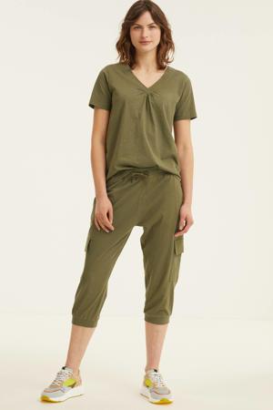 high waist regular fit cargobroek FQSABINA-CA-POCKET groen