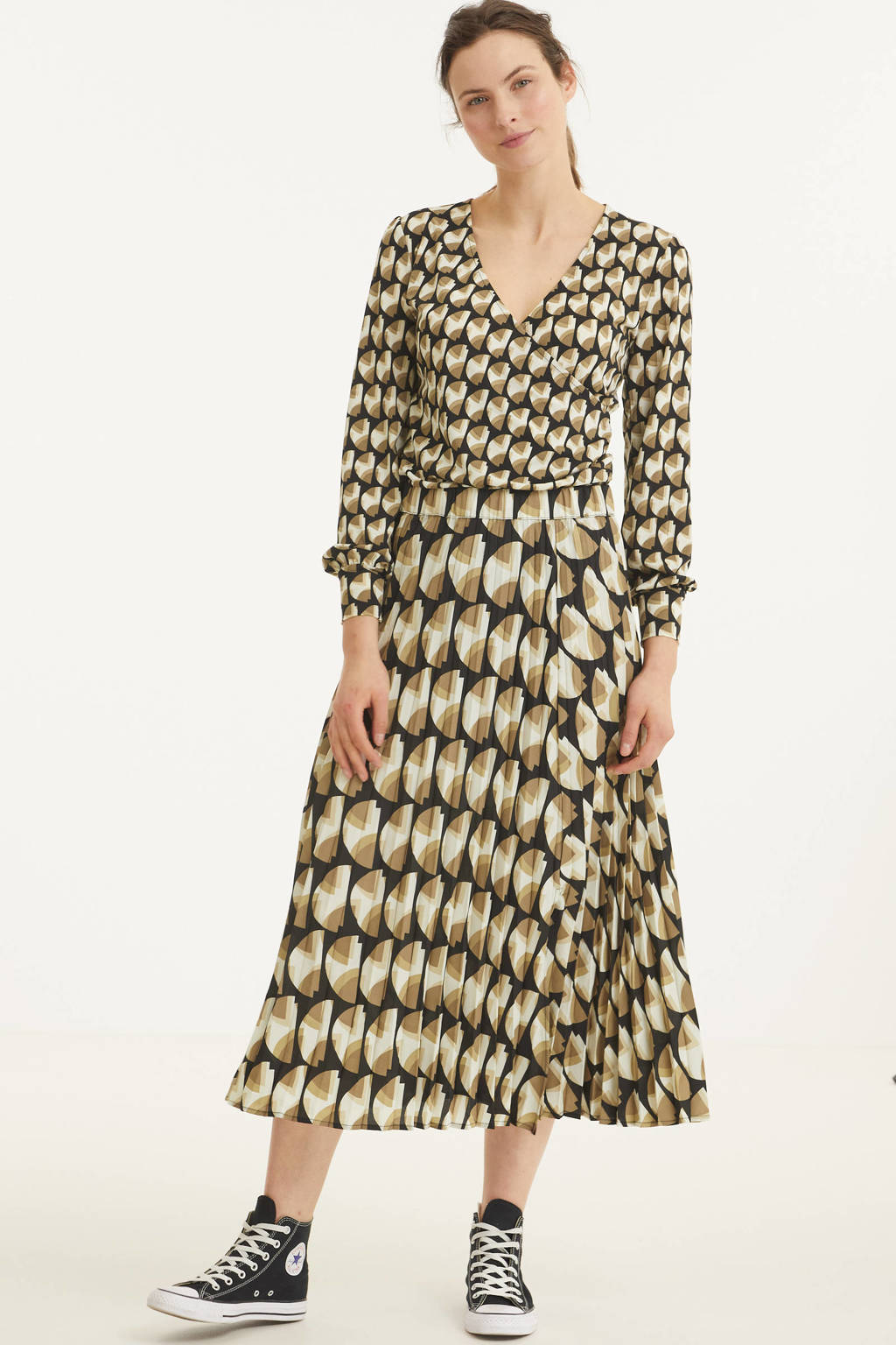 FREEQUENT rok FQPAULA-SK-MUST met all over print beige/bruin, Beige/bruin
