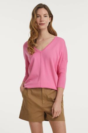 fijngebreide trui FQJONE-V-PU roze