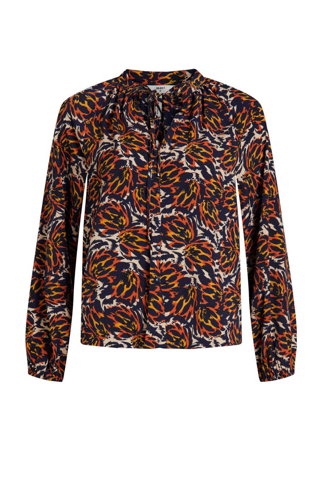 OBJECT blouse OBJKAT met all over print ecru/blauw/rood, Ecru/blauw/rood