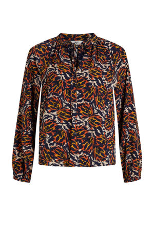 blouse OBJKAT met all over print ecru/blauw/rood