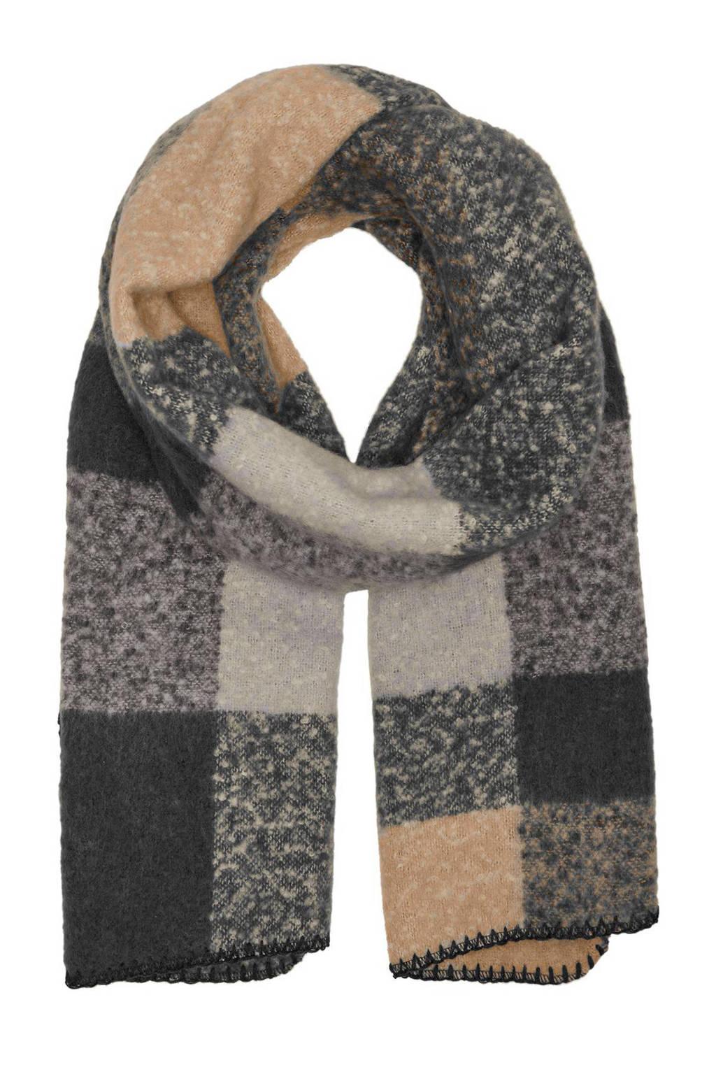 VERO MODA geruite sjaal VMANNA zwart/beige, Zwart/beige