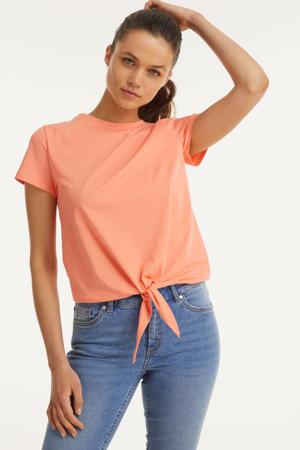 knoop t-shirt koraalrood