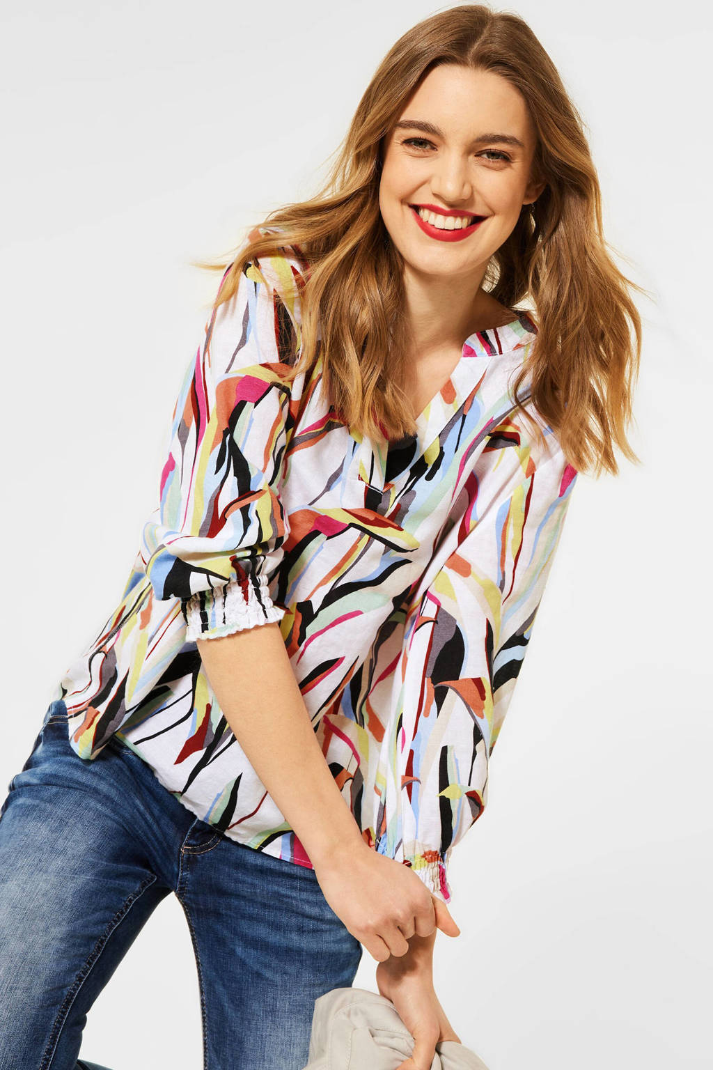 Street One top met all over print wit/multi, Wit/multi