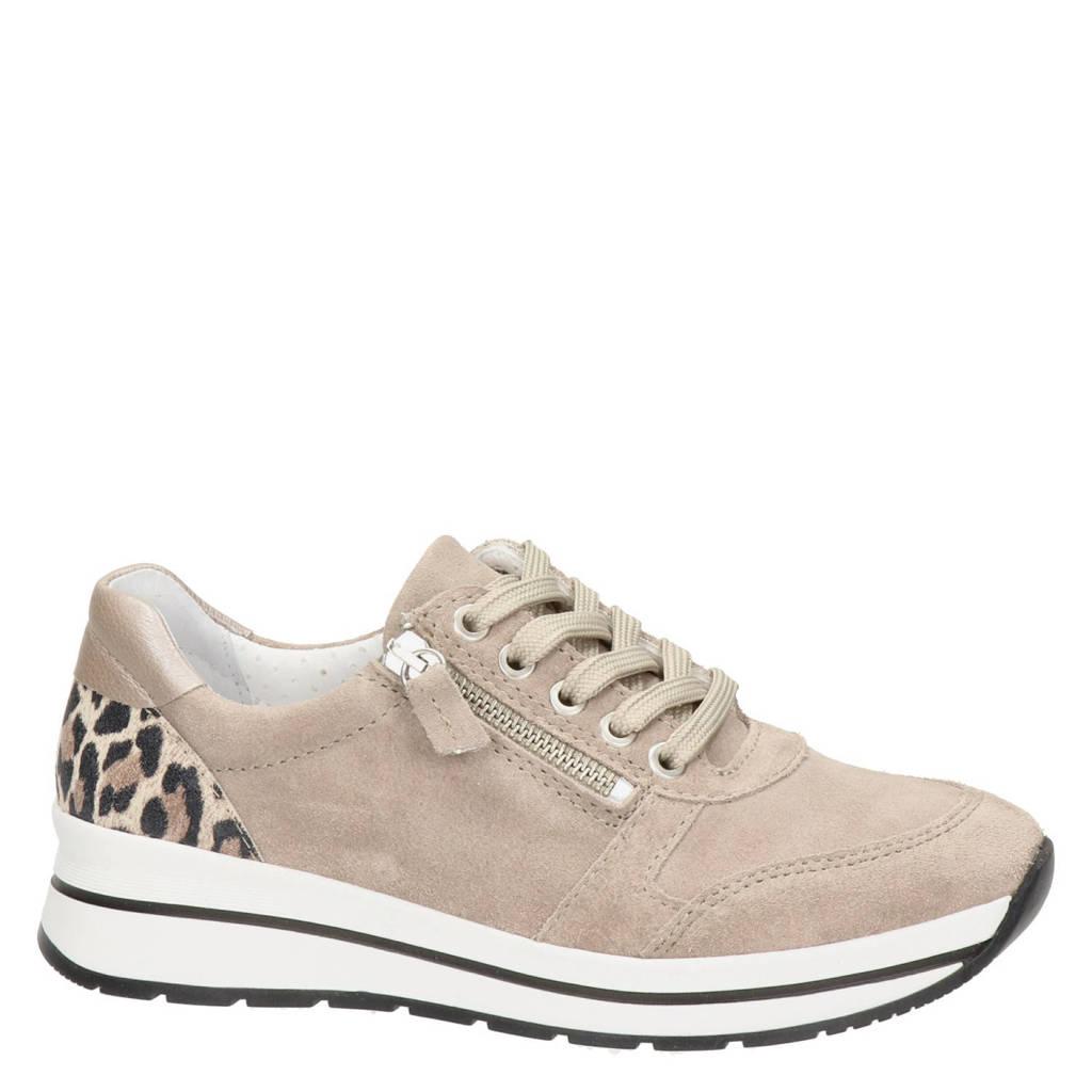 Nelson   suède sneakers met panterprint taupe, Taupe