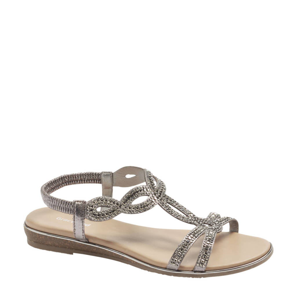 Graceland   sandalen met strass steentjes zilver, Zilver