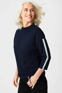 C&A Canda Premium trui met contrastbies donkerblauw, Donkerblauw