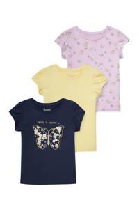 C&A Happy girls Club T-shirt - set van 3 donkerblauw/geel/lila, Donkerblauw/geel/lila