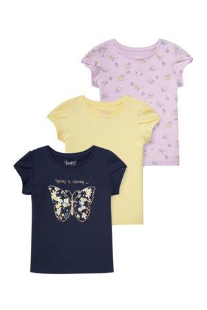 T-shirt - set van 3 donkerblauw/geel/lila