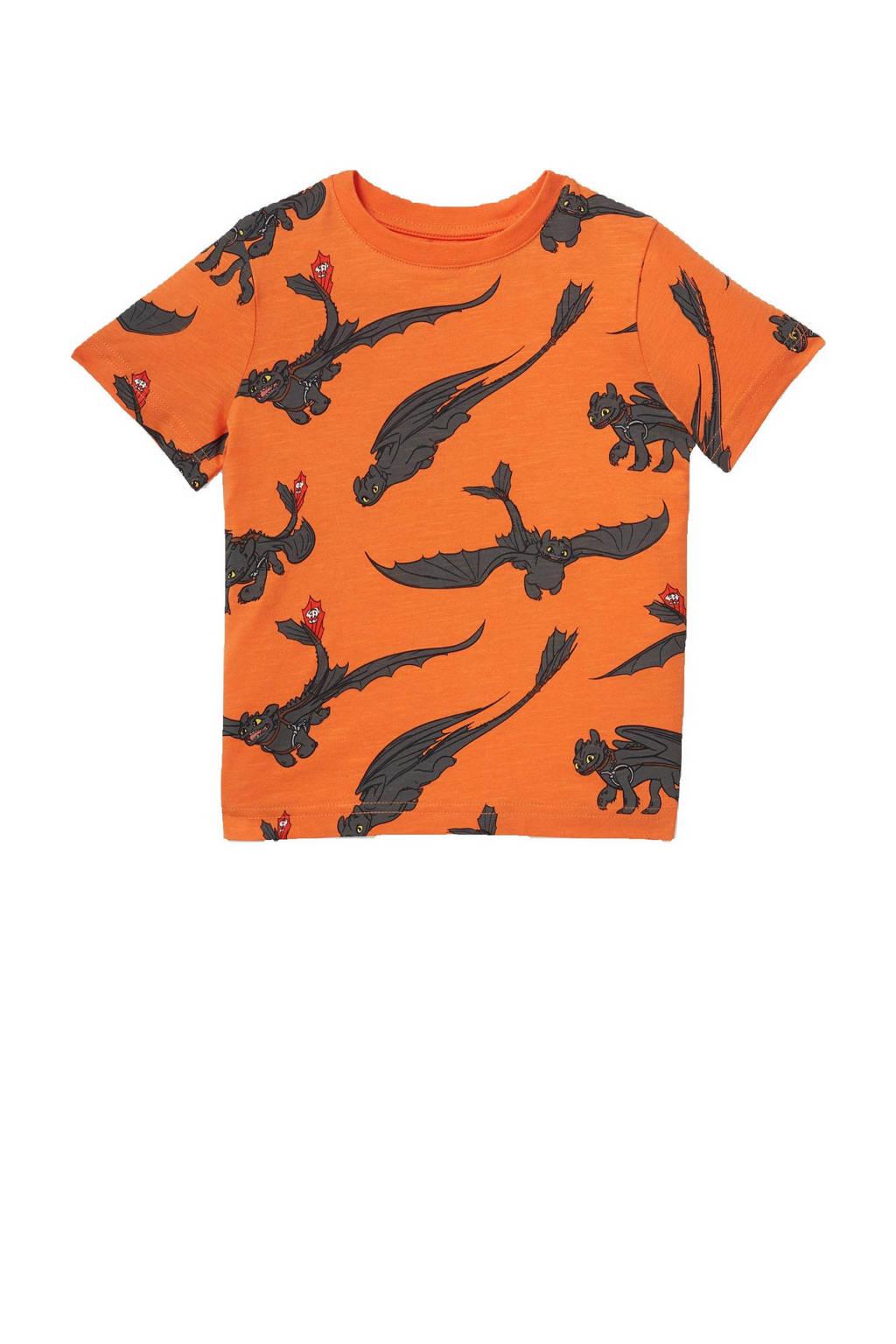 C&A T-shirt van biologisch katoen oranje/antraciet, Oranje/antraciet