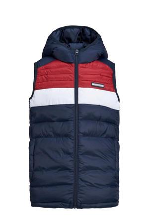 bodywarmer JJEACE donkerblauw/rood/wit