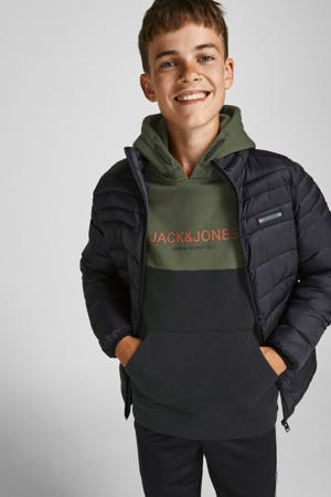 hoodie JJEURBAN met logo donkergroen