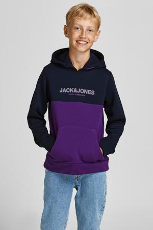 hoodie JJEURBAN met logo donkerblauw/paars