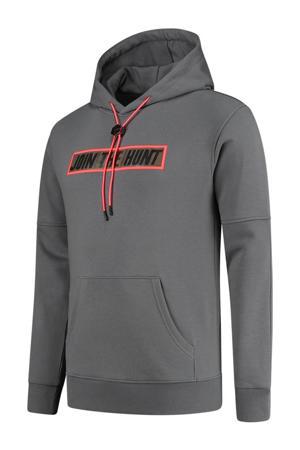 hoodie met printopdruk grijs/neonrood