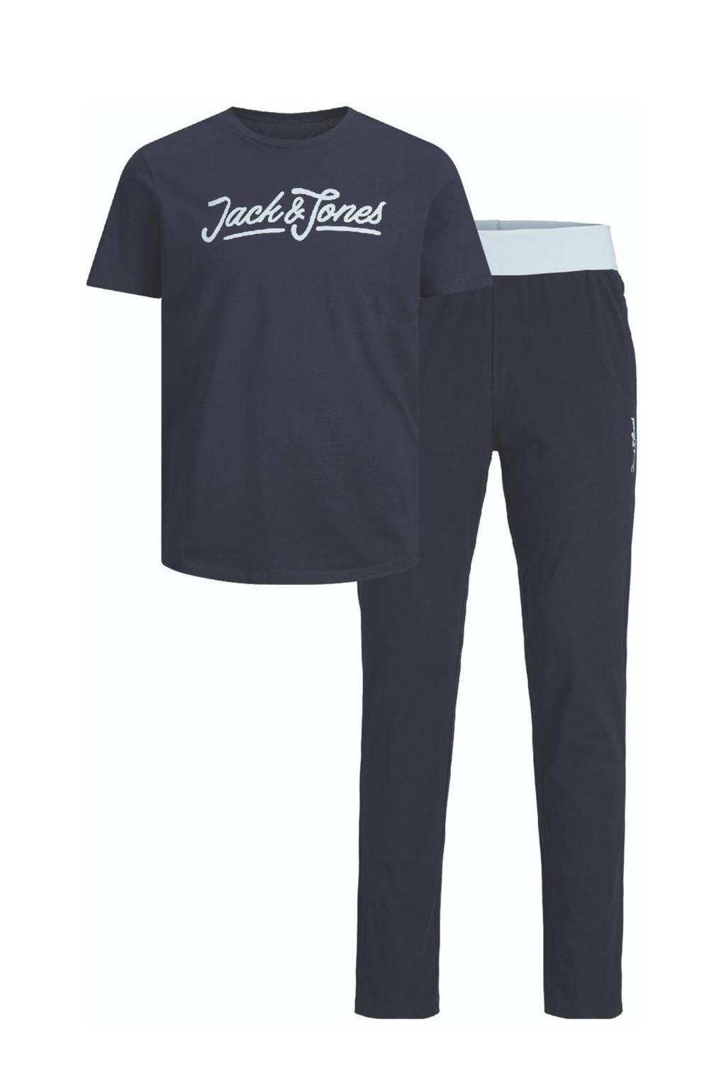 JACK & JONES JUNIOR T-shirt + loungebroek JACLOUNGE donkerblauw, Donkerblauw