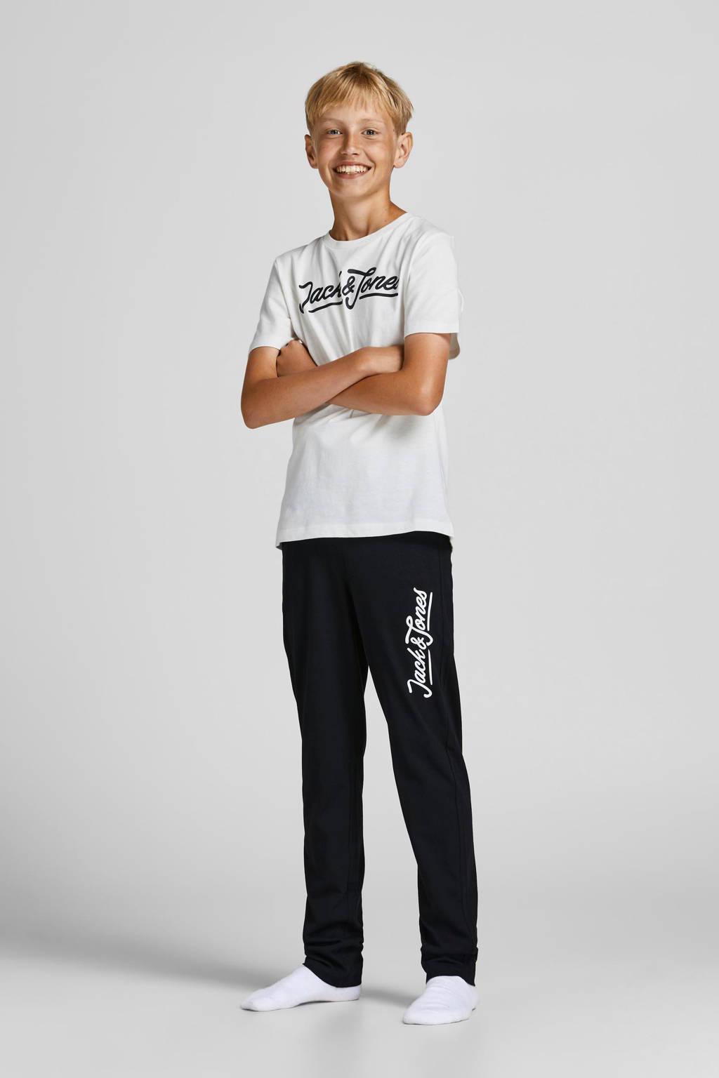 JACK & JONES JUNIOR pyjama JACLOUNGE zwart/wit/grijs melange, Wit/zwart
