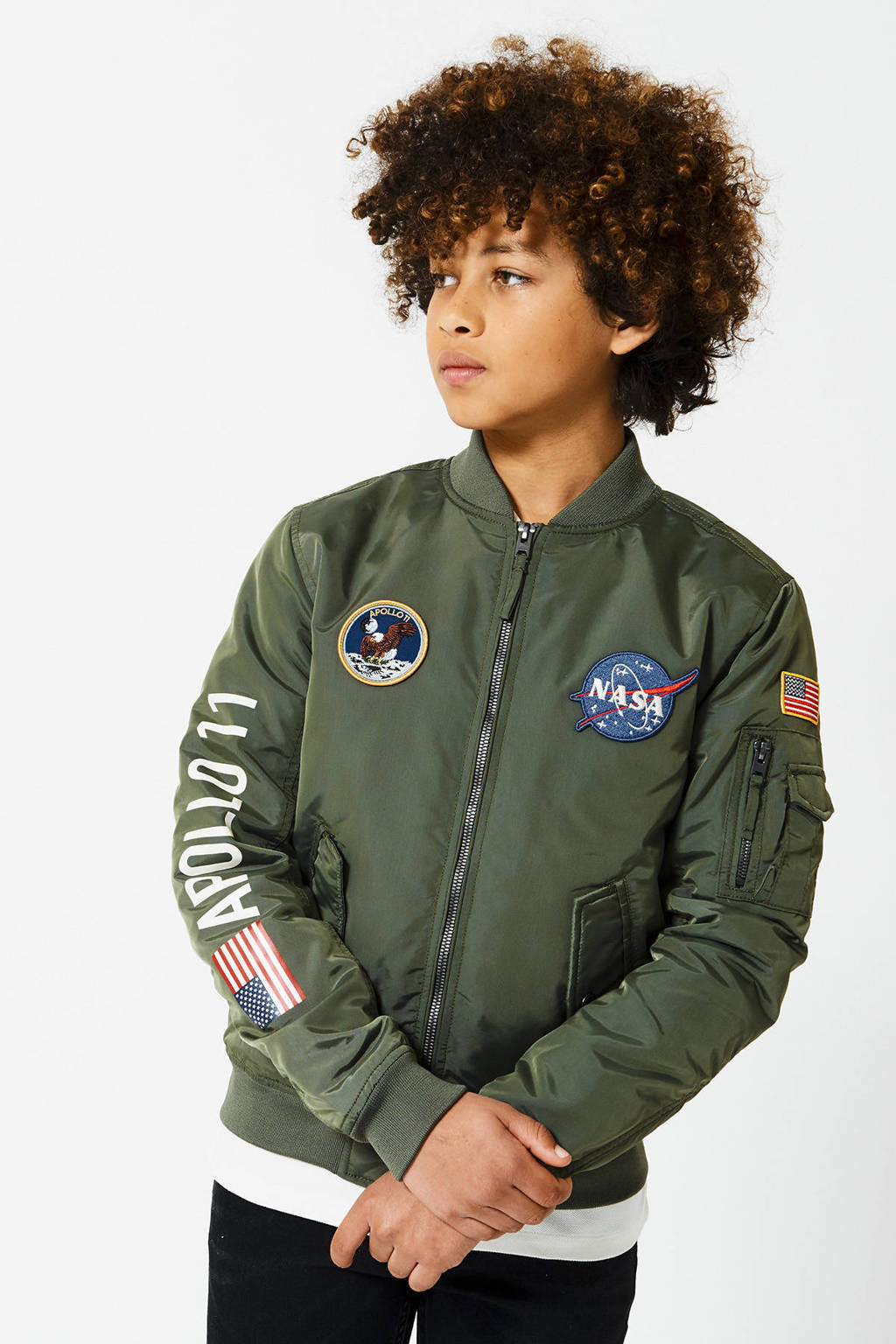 America Today Junior bomberjack zomer Joe met patches army groen, Army groen
