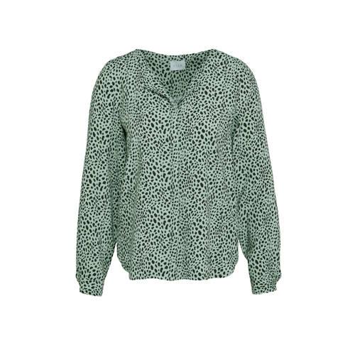 VILA blouse VILANA met all over print turquoise/zwart