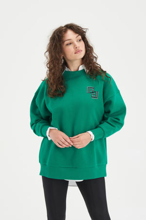 sweater Bright met printopdruk groen