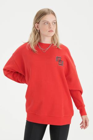 sweater Bright met printopdruk rood