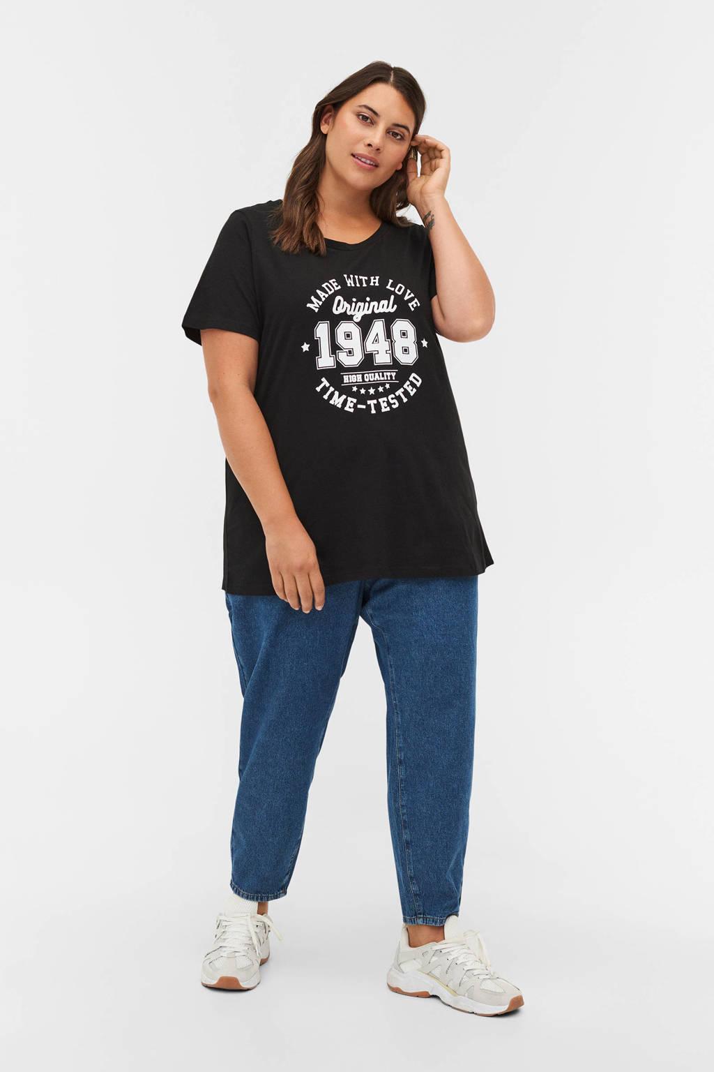 Zizzi T-shirt VLIZA van biologisch katoen zwart/wit, Zwart/wit